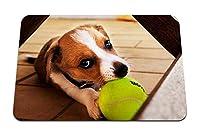 26cmx21cm マウスパッド (犬のボール遊び) パターンカスタムの マウスパッド