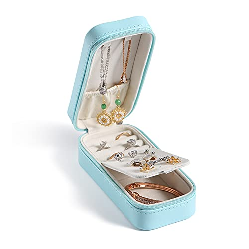 JTKJ La caja de almacenamiento portátil de joyería se utiliza para almacenar pendientes, collares, anillos, pulseras y se puede llevar con usted, azul