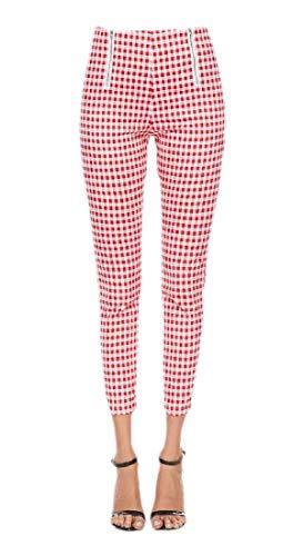 SOWTKSL - Pantalones de Tobillo para Mujer a Cuadros, Talle Alto, con Cremallera, Ajustados 2 S