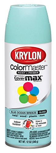 Krylon K05151207 ColorMaster Paint + Primer, Gloss, Blue Ocean Breeze, 12 oz.