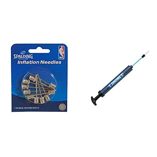 """Spalding Inflation Needles (10 Pack), Silver, One Size 12"""" Dual Action Pump"""