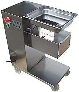 INTBUYING QE 110V Stainless Steel Commercial Meat Slicer Cutting Machine 3mm Blade 500Kg/Hour