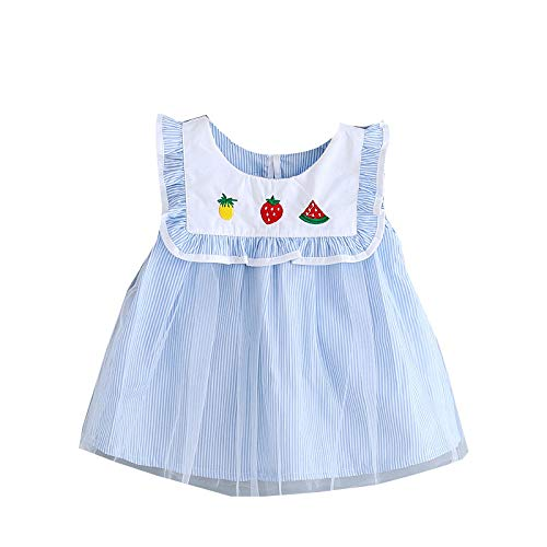 Lenfesh Toddler Kid Baby Girl Fruit Embroidery Tulle Tutu Princess Rayas sin Mangas Vestido de Malla Vertical Trajes para 0-4 años