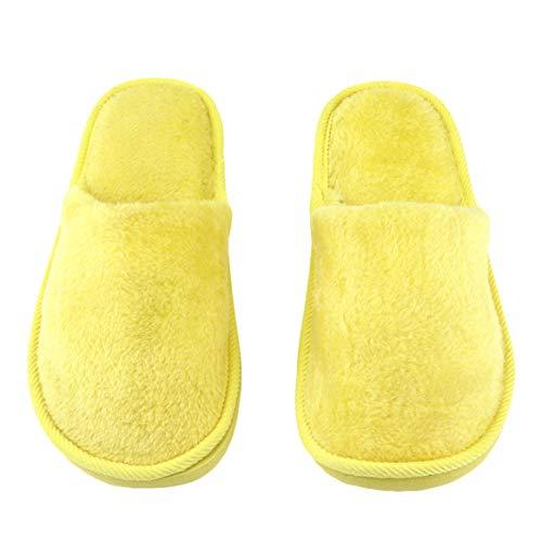 Desconocido Plantilla de Goma Respirable Felpa Interior Casa Casa Mujeres Hombres Inicio Zapatos Antideslizantes Suela Suave Algodón cálido Zapatillas silenciosas para Adultos - Amarillo, 38-39