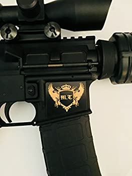 Tejas Products AR-15 Lower Magwell Customized Decal Sticker - Black - Shield with Crown