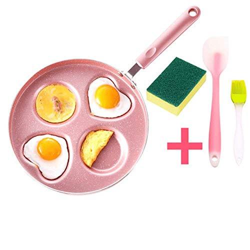 Pkfinrd Hard Geanodiseerd Koekenpan Set Keramische Metalen Utens Huishoudelijke mini platte bodem antiaanbakpan dik gebakken ei koekenpan gemakkelijk te reinigen ontbijt pot geschikt voor gasfornuis roze 26 cm (Maat: M)