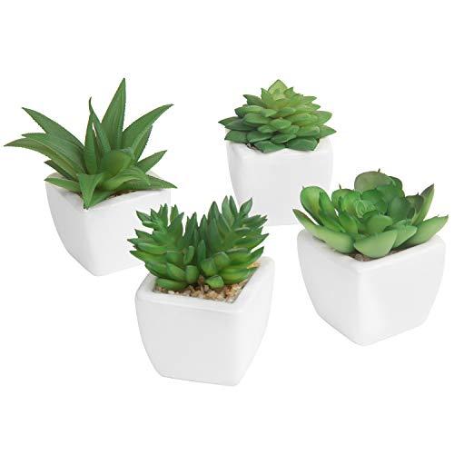 MyGift Lot de 4 plantes grasses artificielles dans des pots en céramique blancs Style moderne