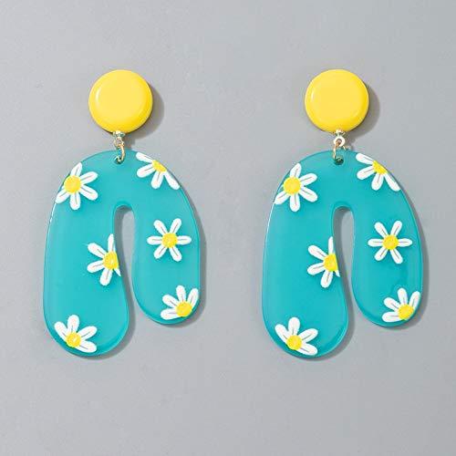 FEARRIN Pendientes Vintage para Mujer Coloridos 3D Hoja Flores Cactus Pendientes Colgantes para Mujer Moda geométrica Fiesta Accesorios de joyería Regalo 16781