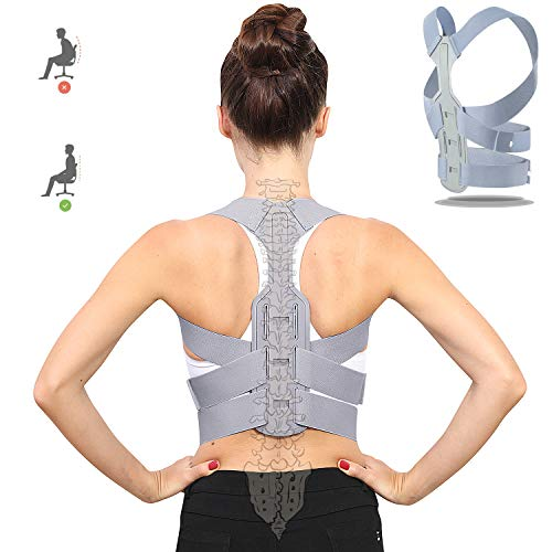 Posture Corrector for Women and Men Under Clothes, Upgraded Upper Back Support Clavicle Brace Shoulder Straps/Back Straightener/Posture Trainer Belt for Pain Relief, Kyphosis, Spinal Alignment -M