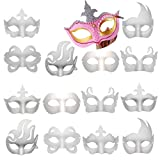 14 PCS White Paper Masks Half Face Masquerade Masks DIY Party Mask Mardi Gras Mask Blank Plain Masks for Funny Party Halloween Art Project Performances