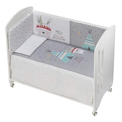 (Varios Modelos) Edredón de cuna desenfundable + protector desenfundable + Cojín color Indio Blanco/Gris, tamaño CUNA 60 x 120