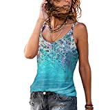 Elesoon Camisola Camis Tops Verano Flor Estampado Floral Boho Étnico Sin Mangas Tirantes Sling T-Shirt Blusa Tank, A-azul cielo, 48