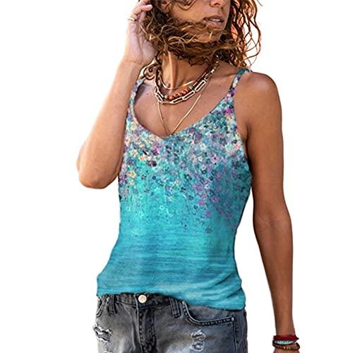 Elesoon Camisola Camis Tops Verano Flor Estampado Floral Boho Étnico Sin Mangas Tirantes Sling T-Shirt Blusa Tank, A-azul cielo, 38