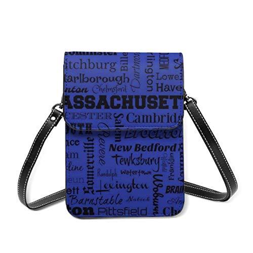 Small Shoulder Bag, Massachusetts Cities Typography In Blue And Black Crossbody Bag CellPhone Wallet Purse Lightweight Crossbody Handbags for Women Girl