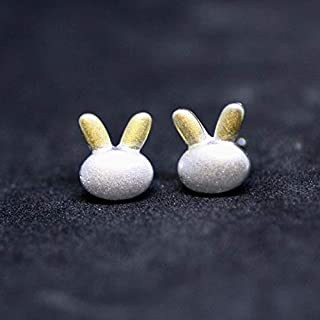 Cute Little Bunny Earrings Sterling Silver 925 and Gold