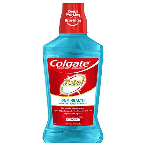 Colgate Total Gum Health Alcohol Free Mouthwash, Antibacterial Formula, Clean Mint - 500 mL, 16.9 Fluid Ounce