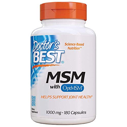 Doctor's Best MSM with OptiMSM, Joint Support, Immune System, Antioxidant and Protein-Building Role, Non-GMO, Gluten Free, 1000 mg, 180 Caps