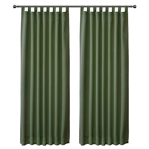 FLOWEROOM Cortinas opacas con trabillas para dormitorio, 245 x 140 cm (alto x ancho), color verde oliva – cortina térmica opaca con reducción de ruido, 2 unidades
