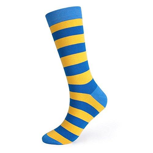 Lmzyan 5 Paires de Chaussettes Rayã©ES de Couleur de Longue Section, Chaussettes absorbantes de Sueur des Hommes, Yellow and Blue, 39-43