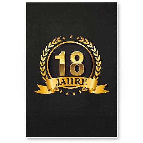 Bedankt! 18 jaar goud, plastic bord - Cadeau 18e verjaardag, cadeau-idee verjaardagscadeau achtjaren, verjaardagsdeco/partyaccessoires/verjaardagskaart
