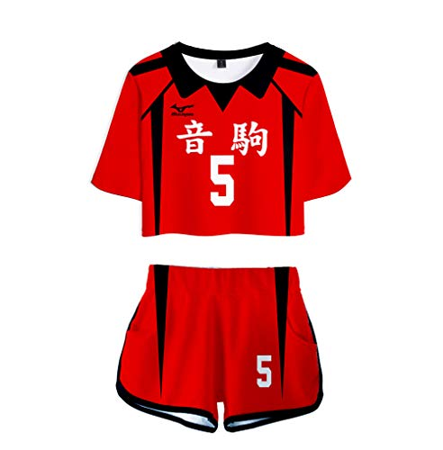 Topcos Womens Girls Nekoma High School Uniform Volleyball Jersey Haikyu Crop Tops Shirt Shorts Set Cosplay Costume (Medium, Nekoma-5)