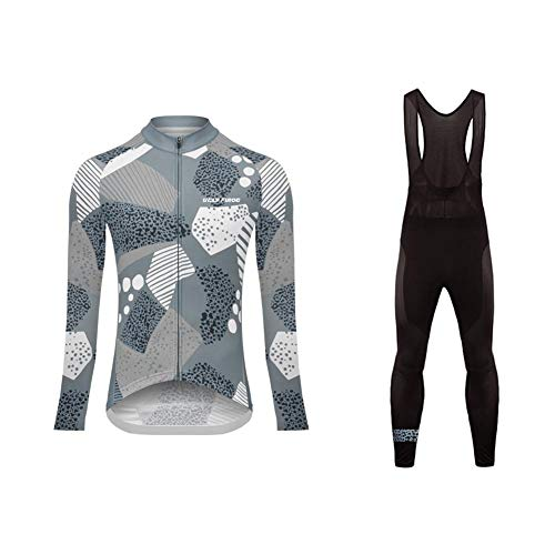 BurningBikewear Uglyfrog Invierno Termo Bodies de Ciclismo (Maillot+Pantalones Babero), Mujer Moda Camuflaje Diseño, de Manga Larga, Delgado, Camiseta de MTB ZRWX02F