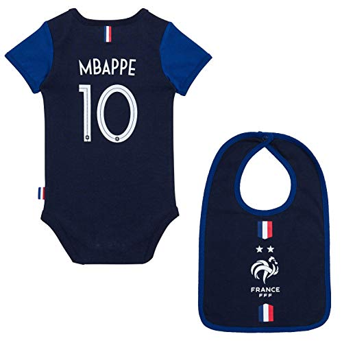 Equipe de FRANCE de football Body + Bavoir FFF bébé - Kylian MBAPPE - Collection Officielle 3 Mois