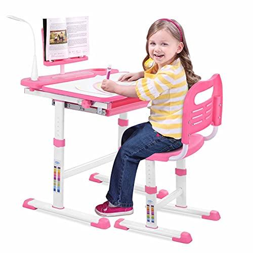 ZXIN Juego de Escritorio y Silla para Niños Ajustable, Mesa de Estudio, Silla Mesa de Inclinable Infantil Ergonómico, Estantería para Niños, con Cajón Tablero de Dibujo Pink Desk