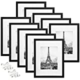 upsimples 9x12 Picture Frame Set of 10,Display Pictures 6x8 with Mat or 9x12 Without Mat,Multi Photo Frames Collage for Wall or Tabletop Display,Black