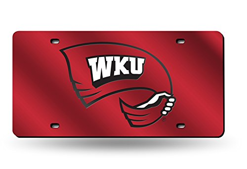 NCAA Rico Industries Laser Inlaid Metal License Plate Tag, Western Kentucky Hilltoppers Team Color, 6 x 12-inches