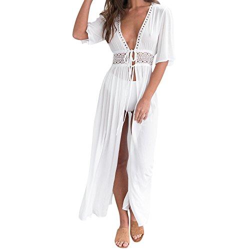 Petalum Damen Sommer Boho Kimono Lang Strand Cardigan Leichte Strickjacke Beachwear Bikini Cover Up Maxi Strandkleid (Weiß, EU 38(Etikette XL))