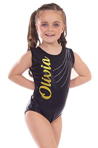 Velocity Dancewear Revel Metallic Black and Gold Lettering Personalised Custom Short Sleeved Sleeveless Gymnastics Tank Leotard by Revel (Gold Lettering), 8-9 Years