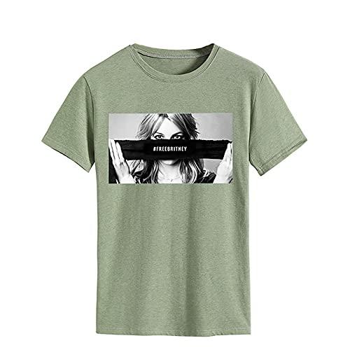 Camisetas de moda para mujer - Free Britney FreeBritney Hashtag Freibritney Gift Shirt - Manga corta del cuello de la tripulación (Color : Olive green, Size : M)