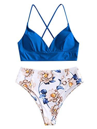 Zaful, tankini da donna con lacci e motivo floreale, costume da bagno Blu 1 L