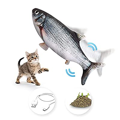 FurDreams Floppy Fish Cat Toy – Interactive Dancing Karp with Catnip Filling for Indoor Play | Washable Moving Electric Plush Toy | Stimulation for Pet Kittens to Chew, Bite, Paw and Kick