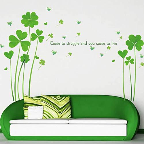 TYLOLMZ Trèfle vert Stickers muraux Salon Décor Amovible Vinyle Papier Peint Papier Chambre Armoire Armoire Décoration