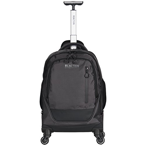 Kenneth Cole Reaction 17' Polyester Dual Compartment 4-Wheel Laptop Backpack, Pindot Charcoal