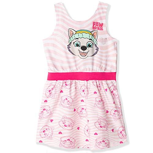 Nickelodeon Paw Patrol - Vestido de verano para niña, sin mangas, 100% algodón, diseño de rayas o frutas de 2 a 6 años