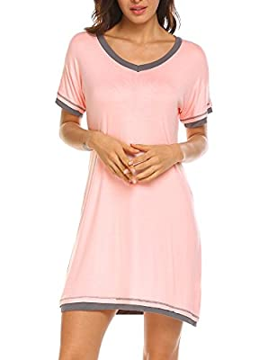 Ekouaer Plus Size Sleepwear Women? V Neck Chemises Short Sleeve Nightgown (Pink,XXL)
