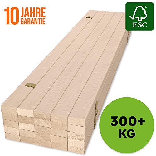 Hansales Rollrost 160x200cm - 300 kg 25 Leisten - Hochwertiger Extra starker Rollattenrost aus echtem Birkenholz - FSC Lattenrost unbehandelt - Lattenrollrost Premium