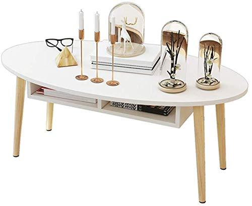 Byrhgood Tisch Wohnzimmer Couchtisch, Kreative Oval Tee Tisch, Massivholz-Multifunktions-Schlafzimmer Beistelltisch (Farbe, Ahorn Farbe, Größe, mit Schublade), Ahorn Farbe, mit Schublade