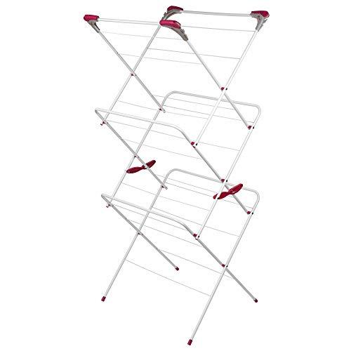 Kleeneze, grau/pink KL050397EU Wäscheständer, 3Ebenen, m Trockenlänge, bis zu 15kg, 3 Tier Airer