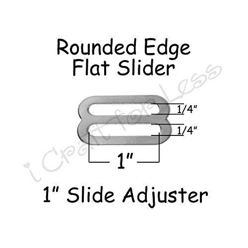 1 Slide Adjusters/Tri Glides/Tri Bars for Adjustable Straps for Suspenders - Rounded Edge (Qty 10)