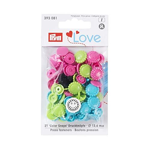 PrymLove. Botones/Cierres de precisión, de plástico, en Forma de Flor, Color Turquesa, Manzana Verde, Rosa Brillante, de 13,6mm, 30Piezas