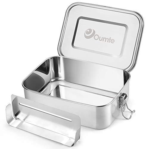 OUMTE Edelstahl Brotdose Dichte Lunchbox,Metall Brotdose Auslaufsichere Bento Box Rechteckige Brotzeitbox BPA Frei Brotbox zum Reisen/Wandern/Schule Kinder und Erwachsen 1200ml