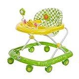 WMY Andadores de bebé para niños y niñas con Juguetes de Actividad, ayudante de Caminante Plegable con Respaldo Alto Acolchado y Juguetes y Altura Ajustable, Color Negro