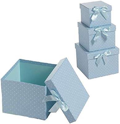 Dcasa Juego 3 Cuadrado Cajas Almacenaje de Adornos Festivos Artículos para el hogar Unisex Adulto, Azul Claro, única: Amazon.es: Hogar