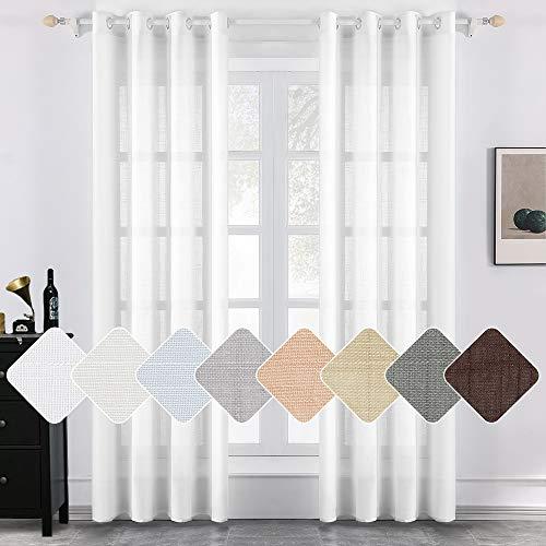 MIULEE 2er Set Voile Vorhang Sheer Faux Leinenvorhang mit Ösen Transparente Leinen Optik Gardine Ösenschal Wohnzimmer Fensterschal Luftig Lichtdurchlässig Dekoschal Schlafzimmer 145 x 225cm (H x B)