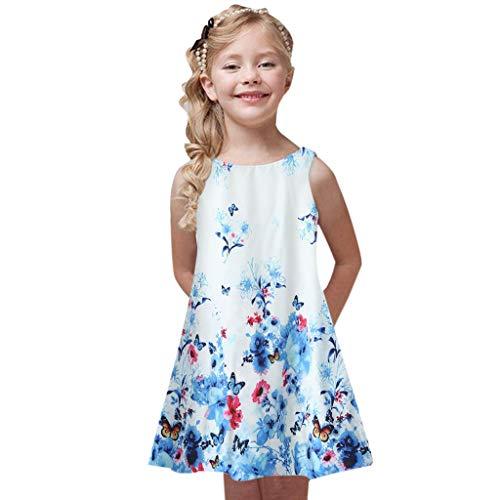 Kobay Mädchen Sommer interessant Muster Kleinkind Sommer Prinzessin Kleid Kinder Baby Printing Party Ärmellose Kleider