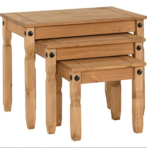 AlpenHome Clearmont 3 Piece Waxed Pine Solid Wood Nest of Tables